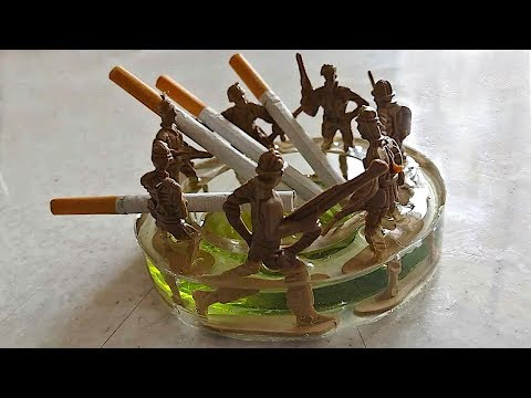 DIY ashtray | cigar ashtray |  resin ashtray | cigar ashtray with Soldier toys and epoxy resin