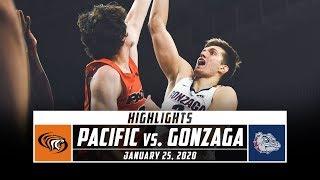 Pacific vs. no. 2 gonzaga basketball highlights (2019-20) | stadium