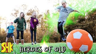 Superpower Soccer Challenge Treasure Hunt for Mystery Artifact Heroes of Old Ep 1 | SuperHeroKids
