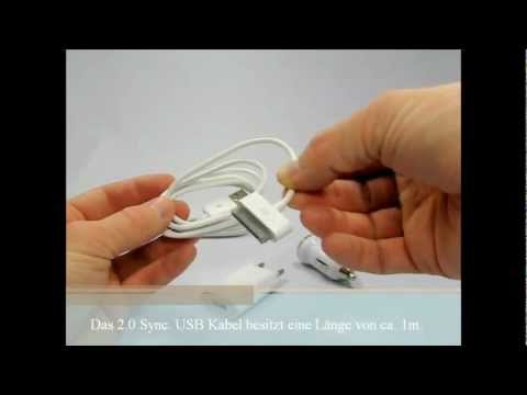 4in1 Set for iPhone and iPod  (KFZ, AUto Adapter, Netzteil, USB Kabel 2.0)