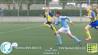 Kampioenswedstrijd van Hermes DVS JO11-5 tegen CVV Berkel JO11-11