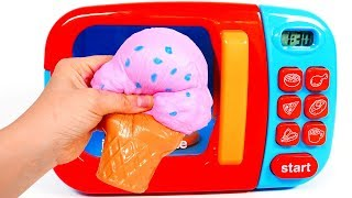 Making Play Doh Ice Cream and Cooking it in Microwave