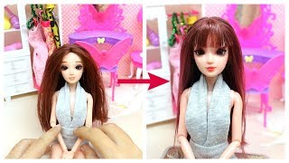 Thử cắt mái cho búp bê - How to Cut Barbie Doll Hair Bangs / Ami DIY