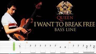 Queen - I Want To Break Free (Bass Line Tabs) By John Deacon