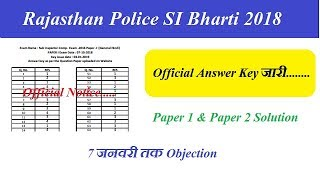 Rajasthan Police SI Answer Key 2018 || जारी हुई Official Answer Key || RPSC SI Master Question Paper