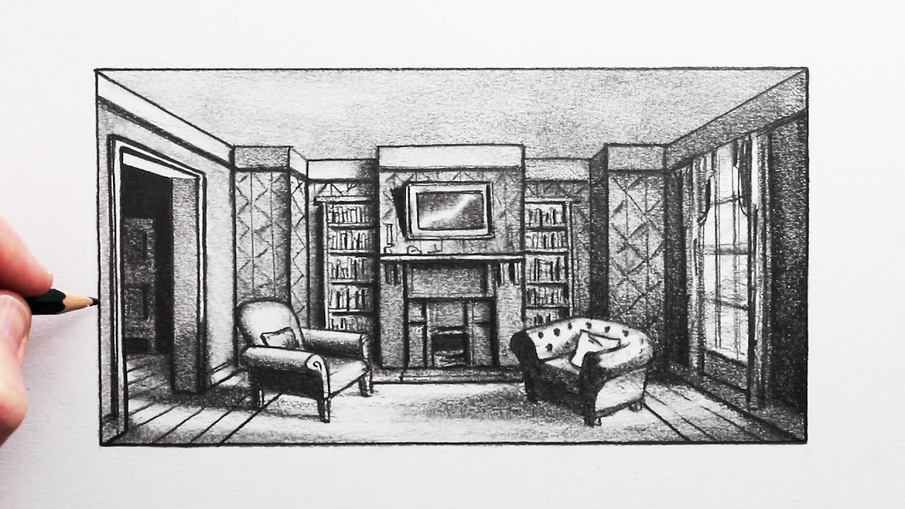 How to Draw Room using 1-Point Perspective: 221b Baker Street