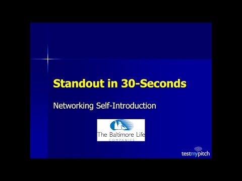 Standout in 30-Seconds-Part I webinar for Baltimore Life Eastern Region Sales Team