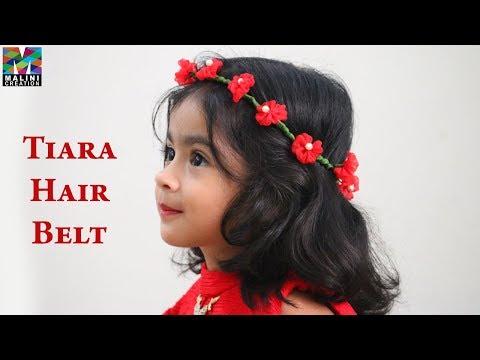 DIY/ home made tiara belt/ birthday hair belt/ flowers crown #Malinicreation