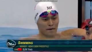 2016/8/9 奧運200公尺游泳自由式-中國孫楊奪金