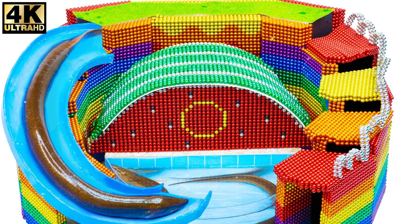 DIY - Build Water Slide Swimming Pool Around Waterfall From Magnetic Balls ( Satisfying )