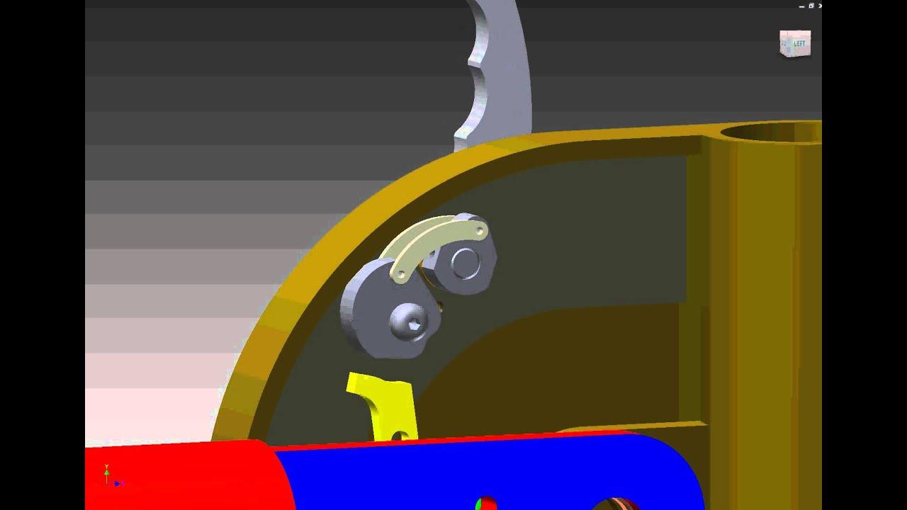 E d cad design lever movement of cam operated lock