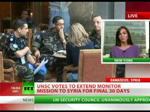 UNSC unanimously extends Syria observer mission for 'final' 30 days
