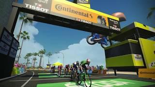 Stage 2 Virtual Tour De France Highlights