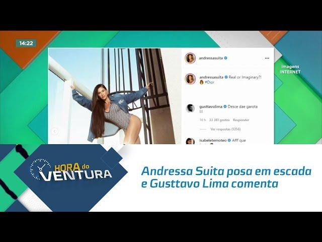 Andressa Suita posa em escada e Gusttavo Lima comenta