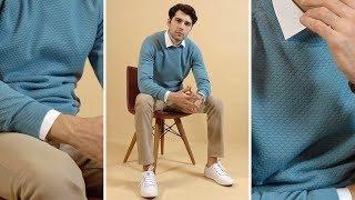 Turkuaz Bisiklet Yaka Kazak ve Toprak Rengi Pantolon Erkek Kombini - Basic Erkek Giyim Tarzı