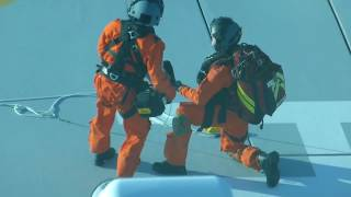 Medical emergency evacuation from a cruise ship at sea