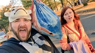 EMBARRASSING HUSBAND BEGS FOR CANDY Annoys Wife Trick or Treating!
