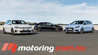 Hyundai i30 N v VW Golf GTI v Honda Civic Type R Track Test | motoring.com.au