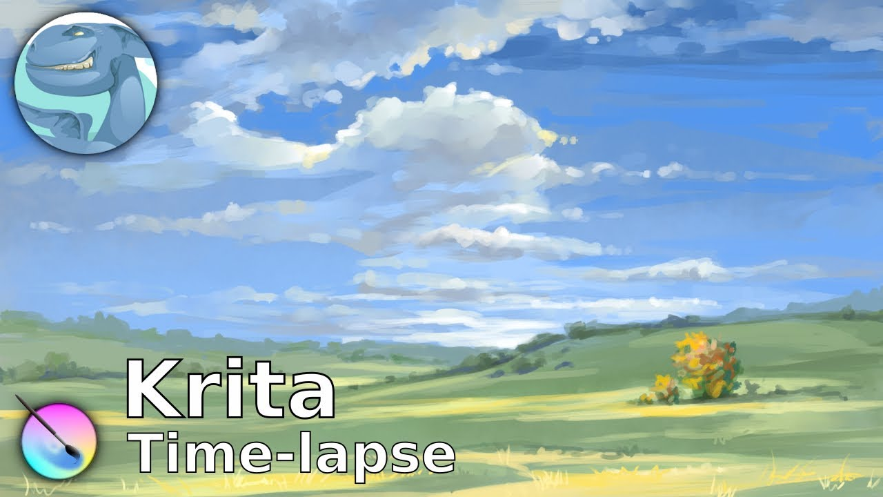 Landscape with clouds. Speed painting with Krita. - YouTube