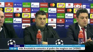 Napoli-Stella Rossa 3-1, Vladan Milojevic in conferenza post-partita