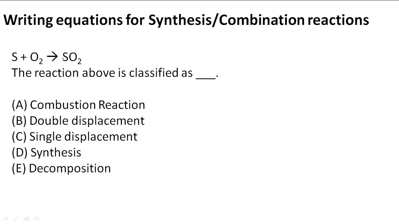 Writing Equations For Synthesiscombination Reactions Youtube
