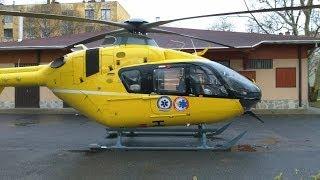 Dorog, EC135 mentőhelikopter felszállása..