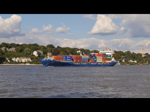 "Hamburg, Germany: Waltershof, ""SYLT"" (140m / 889 TEU) Feederschiff (Feeder Ship) - 4K Video Photo"
