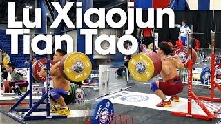 Lu Xiaojun & Tian Tao Front & Back Squatting 2015 World Weightlifting Championships