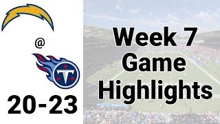 LA Chargers vs Titans Week 7 Highlights NFL 2019