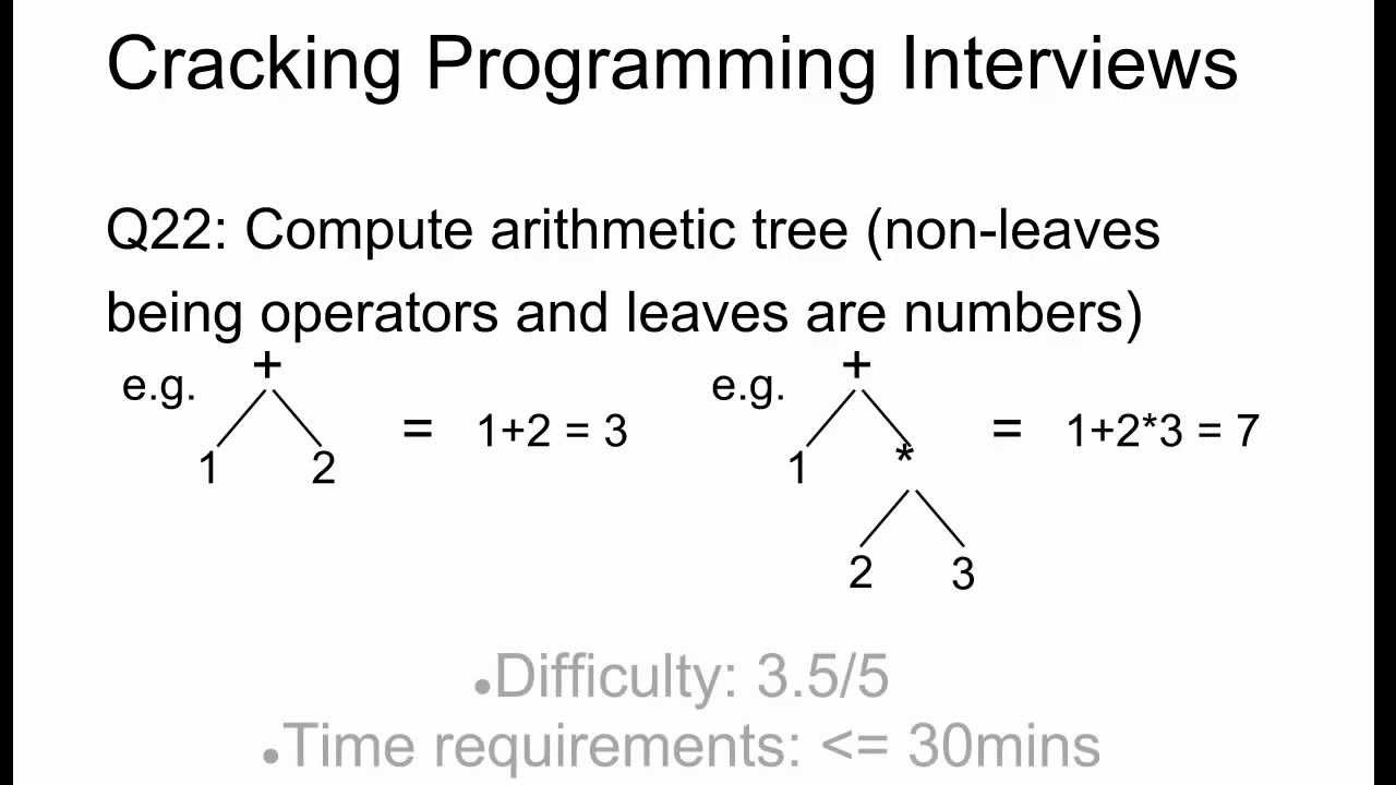 Programming Interview 22: Compute arithmetic tree expression
