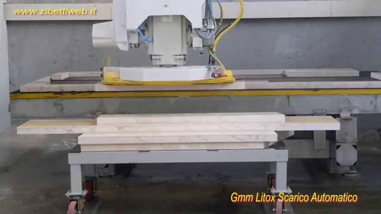 Tagliare Marmo Piano Cucina fresa a ponte cnc - gmm litox cnc - taglio davanzali in marmo con scarico  automatico