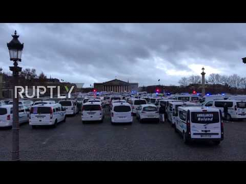 France: Ambulance workers block central Paris in protest over reforms