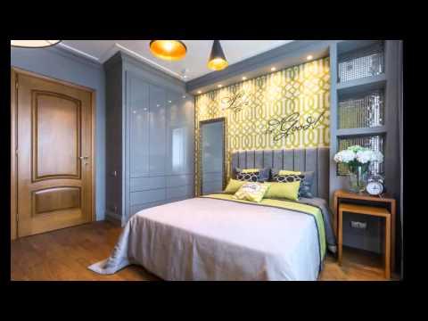 Дизайн спальни 13 кв. м  Интерьер в желто серых тонах для взрослой девушки.