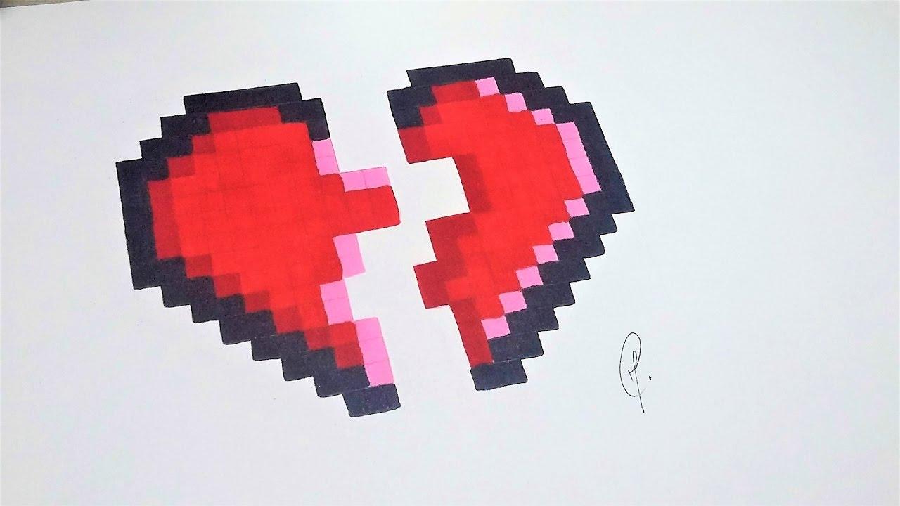Dessin Coeur Brisé Pixel Art