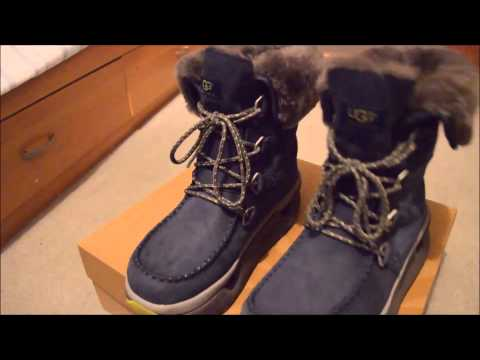 New Mens UGG Auden Navy Waterproof Leather Sheepskin Snow Hunting Boots