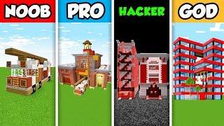 Minecraft NOOB vs. PRO vs. HACKER vs GOD : FIRE STATION BUILD CHALLENGE in Minecraft! (Animatino)