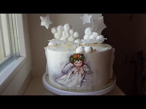 Торт Ангелочек на крестины| Как и Чем крепить любой декор на кремовый торт