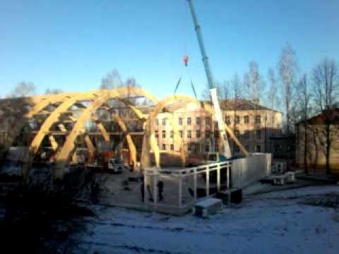 Строительство спортивного зала в Марёво.