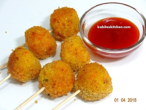 Vegetable Lollipop for Kids-Easy Snack Recipe for Kids-Finger Food Recipe-Quick Vegetarian Starter