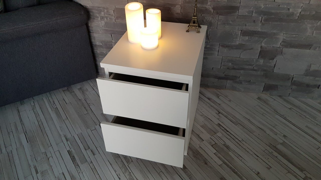 ikea nachttisch kommode mit 2 schubladen in wei 40x55 cm youtube. Black Bedroom Furniture Sets. Home Design Ideas