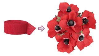 How To Make Anemone Paper Flower From Crepe Paper | DIY Paper Anemone Flowers