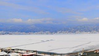 諏訪湖の全面結氷【積雪】
