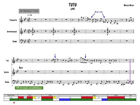 Tutu - Miles, Suivi de partition
