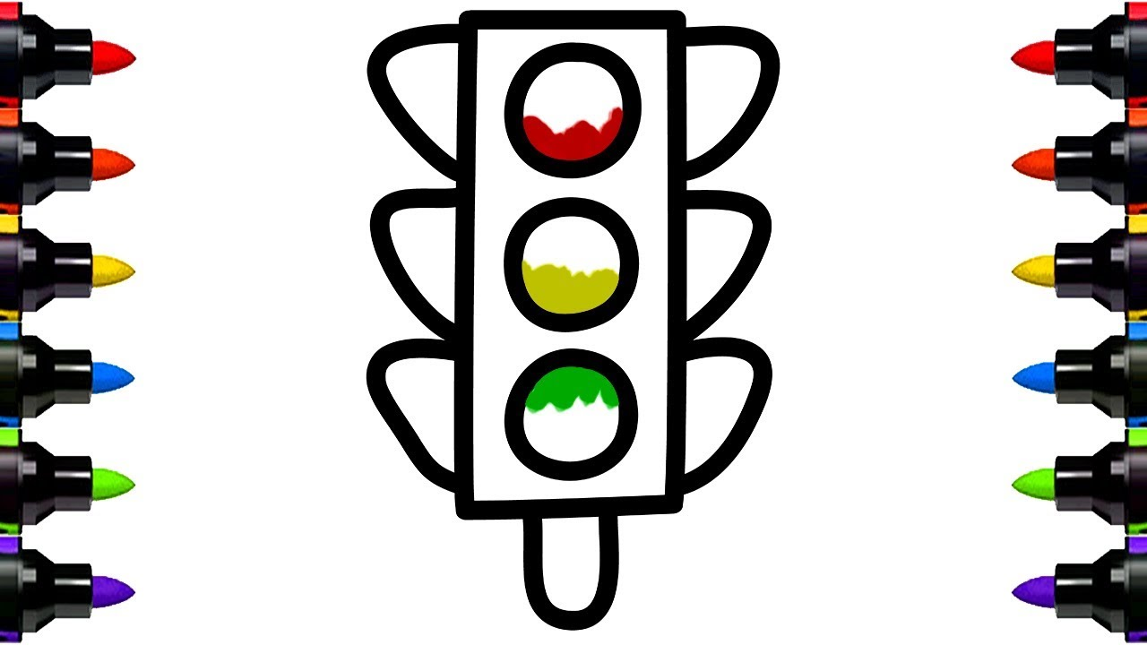 Paint Colouring Pages Traffic Lights - How to Draw and ...