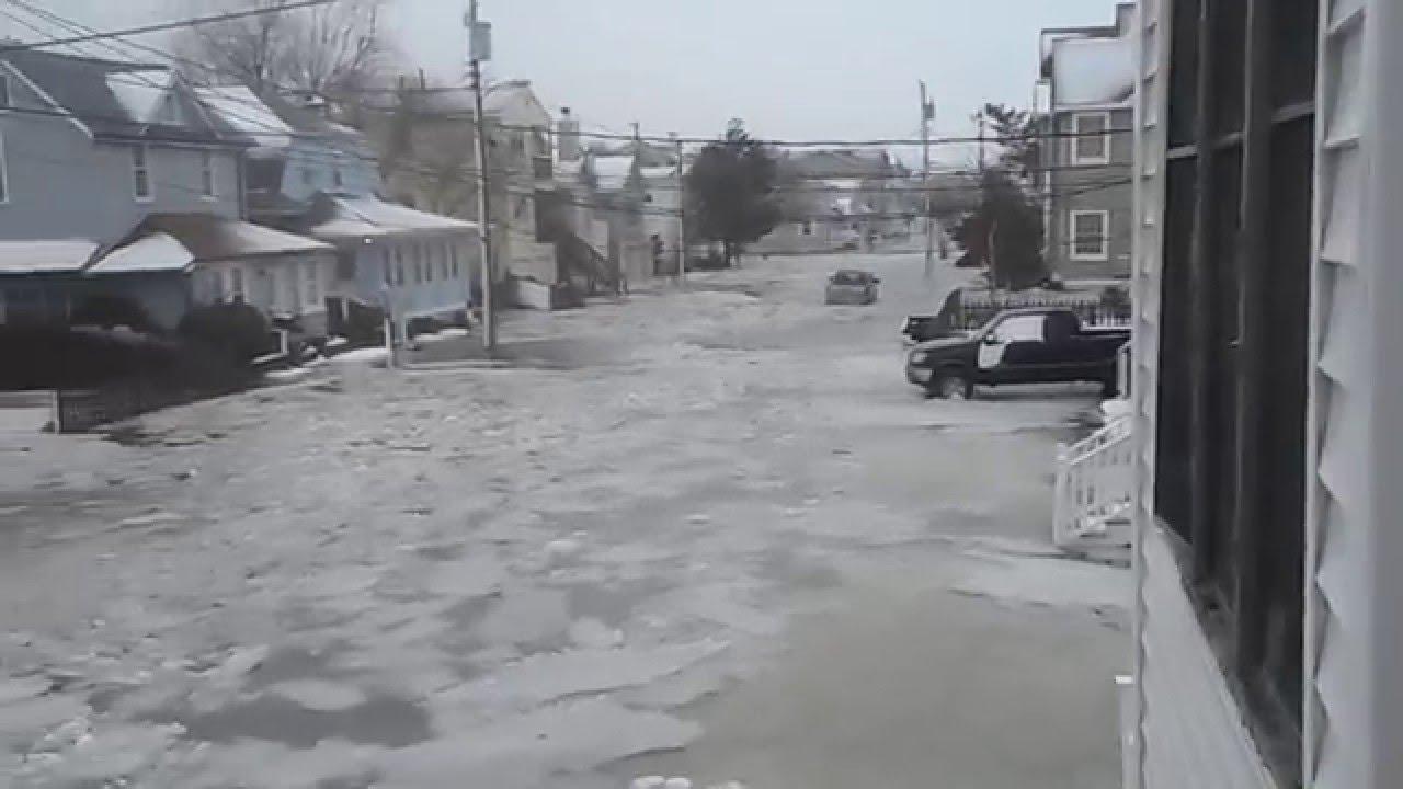 Monster Storm Ocean City NJ Ice Flooding Jan 2016