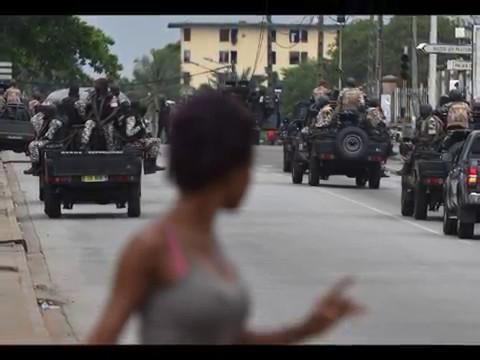 Situation à Akouédo, une banlieue d'Abidjan en Côte d'Ivoire, dans la caserne,