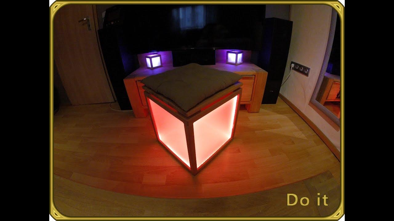 leuchtw rfel hocker selber bauen teil 2 4 sitzw rfel led anleitung beistelltisch selber. Black Bedroom Furniture Sets. Home Design Ideas