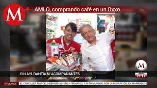 Captan a AMLO en Oxxo de Nayarit; fue por un café