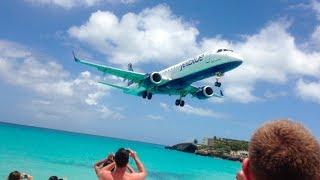 JetBlue (Embraer E-190) Close-up Landing: Princess Juliana Airport, St. Maarten