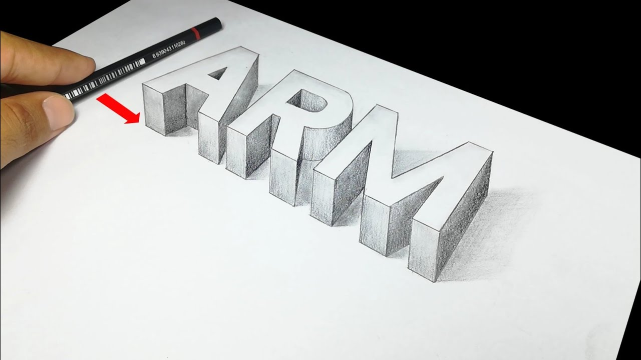 How to Draw a 3D Letter | 3D Trick Art on paper | Trick Art with Graphite  Pencil | Calligraphy Skill
